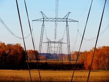 High-voltage line of 500 kw. High-voltage support hold wires of a high voltage Stock Photography