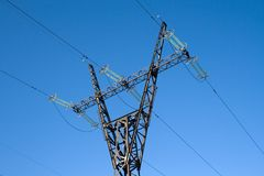 High voltage line mast Stock Images