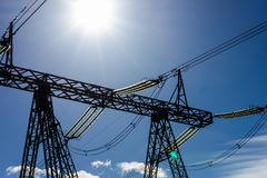 High voltage line high contrast stock photo