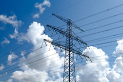 High-voltage line over sky Stock Photography