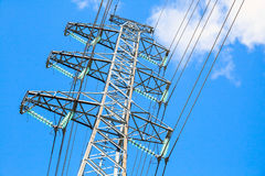 High-voltage line. Overhead power line Royalty Free Stock Image