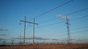 High-voltage Line. Poles With Wires stock video footage