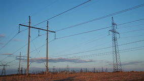 High-voltage Line. Poles With Wires. At Sunset stock video