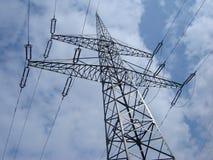 High voltage line pylon. Framed structure pylon of high voltage line stock photo