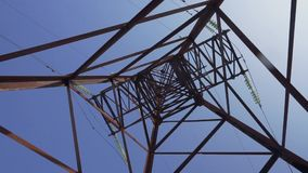 High voltage line pylon seen from below with blue sky