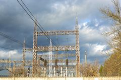 High-voltage line in the sky Stock Photography