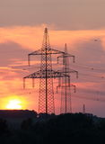 High Voltage Line in Sundown Stock Images
