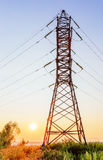 High voltage line at sunset Stock Photos