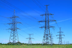 High voltage line support. Against the blue sky Royalty Free Stock Photo