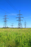 High voltage line support. Against the blue sky Stock Images