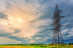 High voltage line and thunderclouds Royalty Free Stock Image