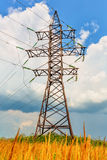 High voltage line and thunderclouds Royalty Free Stock Photo