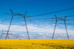 High-voltage line. On a yellow field royalty free stock photo