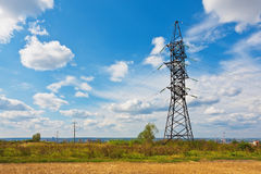 High Voltage Lines And Cloudy Sky Royalty Free Stock Photography