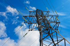 High voltage lines and blue sky Royalty Free Stock Photography