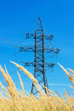 High voltage lines and blue sky Royalty Free Stock Photo