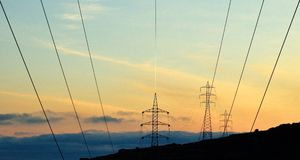 High voltage lines Stock Images