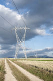 High voltage lines Stock Photos