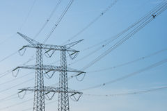 High voltage lines and a power pylon Royalty Free Stock Photos