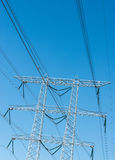 High voltage lines and a power pylon Stock Images