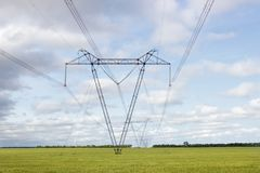 High voltage lines and power pylons in a field royalty free stock photo