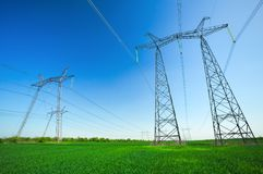 High voltage lines and power pylons Royalty Free Stock Photo