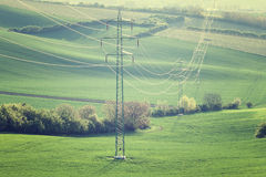 High voltage lines and power pylons Royalty Free Stock Photography