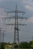 High voltage mast before sky. High voltage mast before cloudy sky Stock Photos