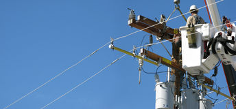 High voltage new pole installation Stock Photos