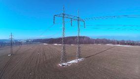 High voltage pole stock footage