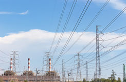 High voltage pole and electricity plant Royalty Free Stock Photos