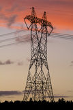 High voltage pole. Electricity and power transmission pole royalty free stock photography