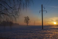 High voltage pole in the field winter sunset royalty free stock photos