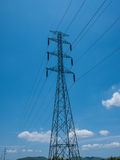 High voltage pole. Power transmission tower Royalty Free Stock Image