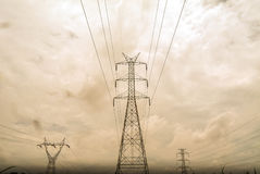 High voltage pole sky background. Stock Images