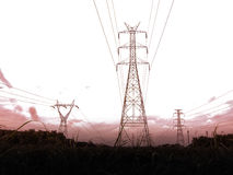 High voltage pole sky background. royalty free stock images