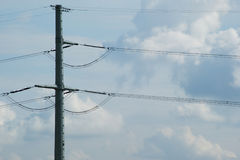 High voltage pole and sky. High voltage pole and clouds Stock Images