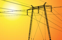 High voltage pole at sunset Royalty Free Stock Images