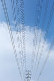 High voltage pole. High voltage towers and sky background Royalty Free Stock Images