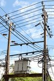 High voltage pole and Transformer. The High voltage pole and Transformer Stock Photography