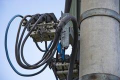 High Voltage Pole with Transformer Stock Photos