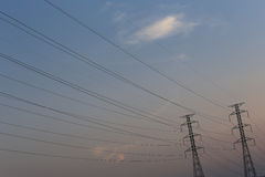 High voltage pole of transmission lines. Stock Image