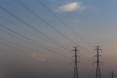 High voltage pole of transmission lines. Stock Photo
