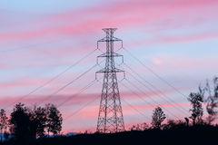 High voltage pole with twilight. High voltage pole on mountain with twilight Royalty Free Stock Images