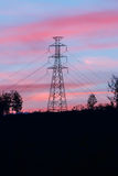 High voltage pole with twilight. High voltage pole on mountain with twilight Stock Photography
