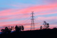 High voltage pole with twilight. High voltage pole on mountain with twilight Royalty Free Stock Image