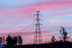 High voltage pole with twilight. High voltage pole on mountain with twilight Stock Photos