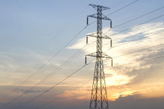 High Voltage Poles on the Evening Royalty Free Stock Image