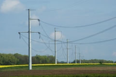 High voltage poles Stock Photo