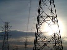 High voltage poles Stock Photos
